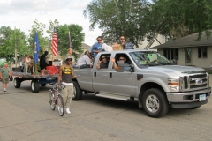 pickup pulling EHN float in a parade