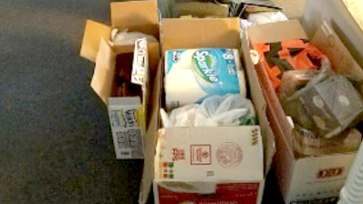 box of donated items